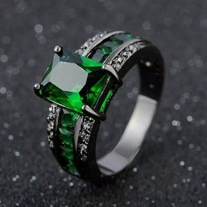 Green Emerald 14K Black Gold Filled Ring